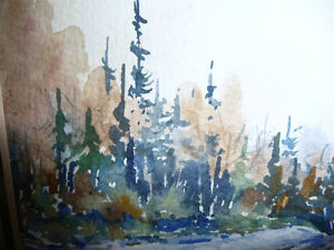 "Myrna Wilkinson ""Winter Shadows"" Original Small Watercolor Stratford Kitchener Area image 8"