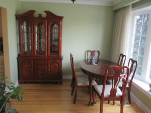Brown solid wood 9 pieces dining room set