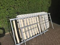 Metal single bed with trundle bed under and 2 mattresses