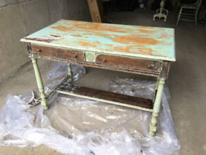 Old-fashioned solid wood desk, partially stripped (incomplete)