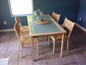Wood Glass table with four chairs