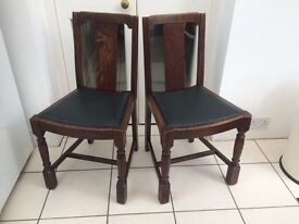 2 (Two) SOLID OAK 1930s Dining Chairs