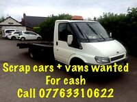 Scrap cars and vans wanted for cash