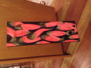Abstract paining - Colours: Salmon, black and sage Kitchener / Waterloo Kitchener Area image 1