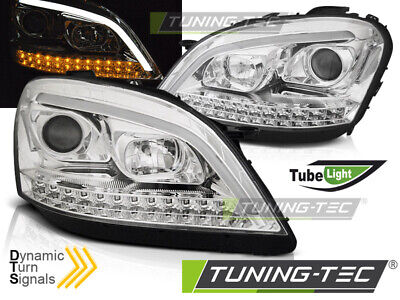 SCHEINWERFER TUBE LIGHT FÜR MERCEDES W164 ML 05-07 DYNAMIK BLINKER CHROM LED