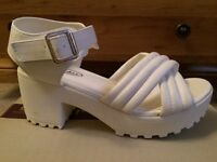White heeled sandals size 5