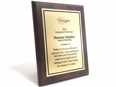 Personalized award plaque cherry finish 6x8 inches with brushed gold aluminum](Award Metals)