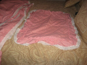 Pink Trim with Lace Double Bed Set With Curtains