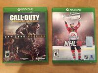 Call of Duty Advanced Warfare Day Zero Ed and NHL16 XBOX ONE
