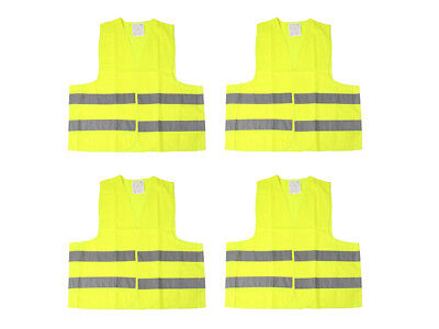 4 x Warnweste Unfallweste Neon Gelb Sicherheitswarnweste KFZ DIN EN ISO 20471
