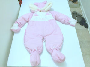 Snowsuit Infant (0-9m.) Baby Girl Wind Resistant Lightweight Pin