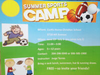 Ages 5-12 Summer Sports Camp! FREE!