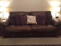 Brown leather sofas 2 & 3 seater, free to collect