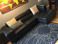 Structube Black Leather Sectional