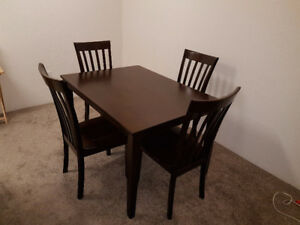 Wood Dinner Table with 4 Chairs