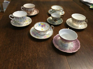 7 Vintage China Tea Cups. Less than $10 each!