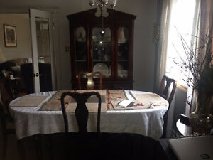 Dining table chairs and china cabinet set