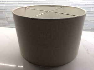 2 linen with grey hues perfect condition lamp shades