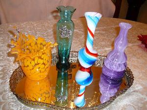 Mignon vase style Murano/20cm en verre soufflé tricolore spiralé