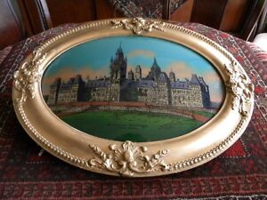 ANTIQUE OVAL FRAME COLLECTABLE WITH BUBBLED  GLASS