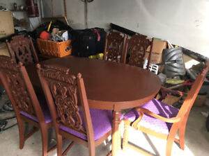 wow Antique real wood 6 chairs table dining room set