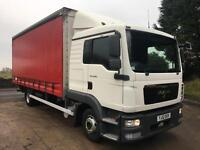 2012 12 MAN TGL 8.180 sleeper cab 20ft curtainsider, tail-lift
