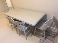 Shabby chic distressed dining table with 4 chairs