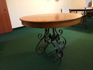 REDUCED  Beautiful Solid Oak table with Rod Iron Base