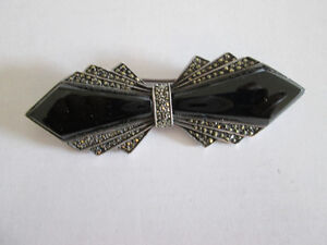 Silver and Black Onyx and Marcacite Brooch