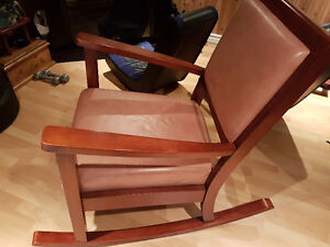 Rocking chair with leather seats and back
