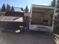 man with Cube van & Dump &flatbed Truck that you need