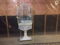 Tall bird cage with stand and accessories