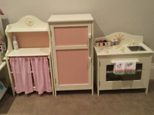 Pottery Barn Kids wooden play kitchen (3 pc)