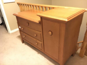 Solid Wood Baby Change Table w/ 4 Drawers (child-lock included!)