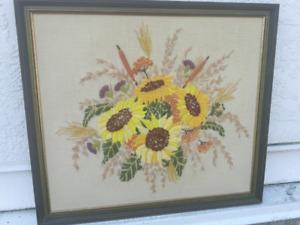Vintage Framed (Crewel) Sunflowers