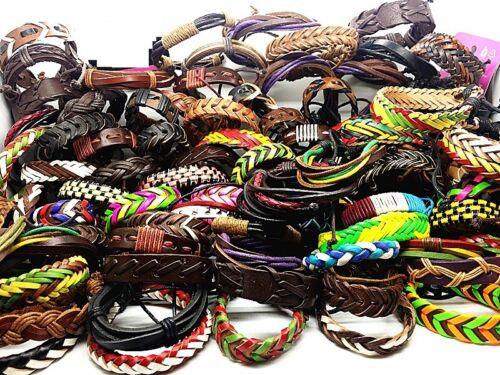 Wholesale 50pcs Mix Lots Genuine Leather Handmade Cuff Jewelry Bracelets Gifts