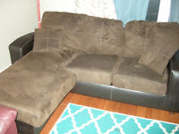 Brown Leather and Microfibre Couch with Chaisse
