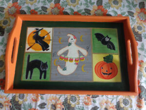 HALLOWEEN Tray:  Hand-painted Wooden Tray!  Just $5.00!
