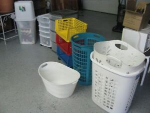 ASSORTED STORAGE ITEMS LAUNDRY BASKETS PLASTIC DRAWER ETC