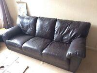 Brown leather sofa **free**