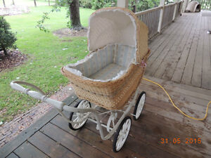 Vintage Wicker Baby Buggy with Hood