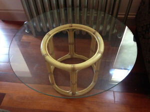 Bamboo and Glass Round Coffee Table and Bamboo Stool