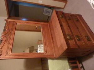Antique ash dresser with mirror