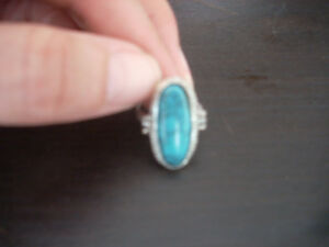 Turquoise Oval Stone Ring mounted on Silver