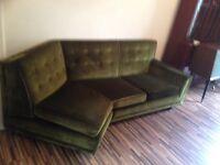 3 seater sofa plus 2 single in green