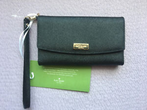 Kate Spade Laurel Way iPhone Wristlet Wallet (Black Saffiano)