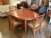 G Plan retro dining table & chairs VGC