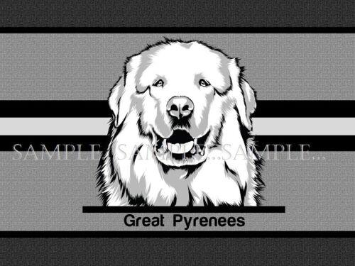 Great Pyrenees Dog Breed Monochrome Style Art Welcome Doormat Door Floor Mat Rug