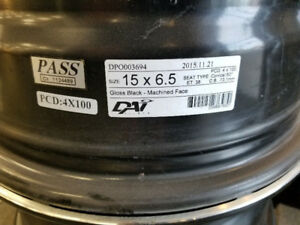 4 Mags Dai alloy Gloss Black 15po - 4x100 - offser 38mm
