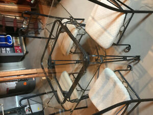 Vintage glass dining table with chairs